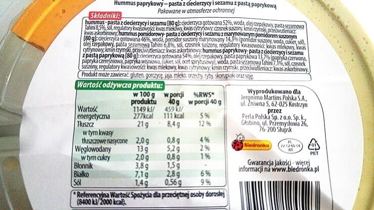 Hummus Vital Fresh z Biedronki - skład i tabela wartości odżywczych