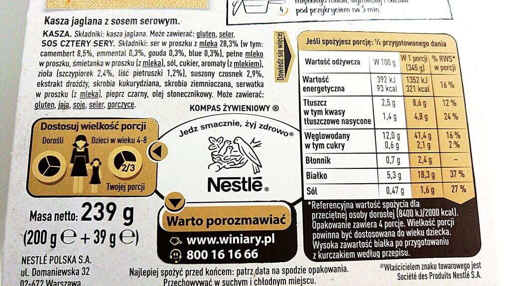 Kaszotto Cztery Sery Winiary - skład i tabela wartości odżywczych