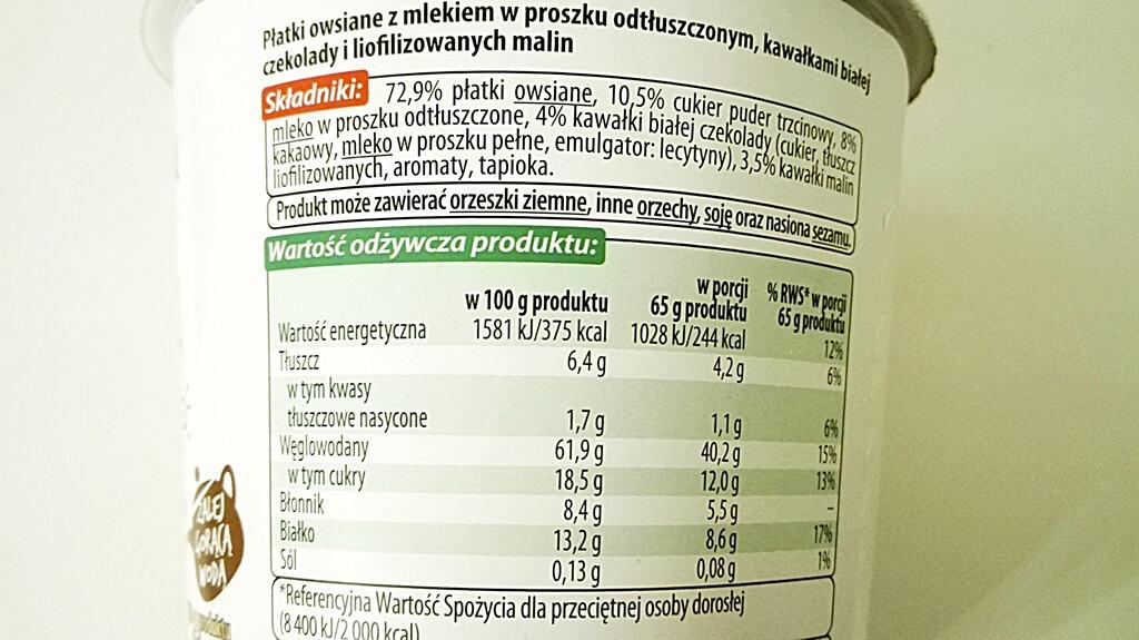 Owsianka z Ranka Vitanella - smak biała czekolada z maliną - skład i tabela wartości odżywczych