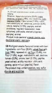 Crunlight chrupki wielozbożowe - smak pomidor z bazylią - skład
