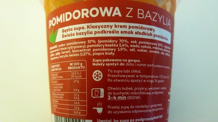 Pan Pomidor Zupa pomidorowa z bazylią - skład i tabela wartości odżywczych