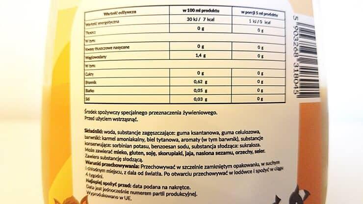 Dobry Syrop WK Zero Kalorii o smaku krówki - skład i tabela wartości odżywczych