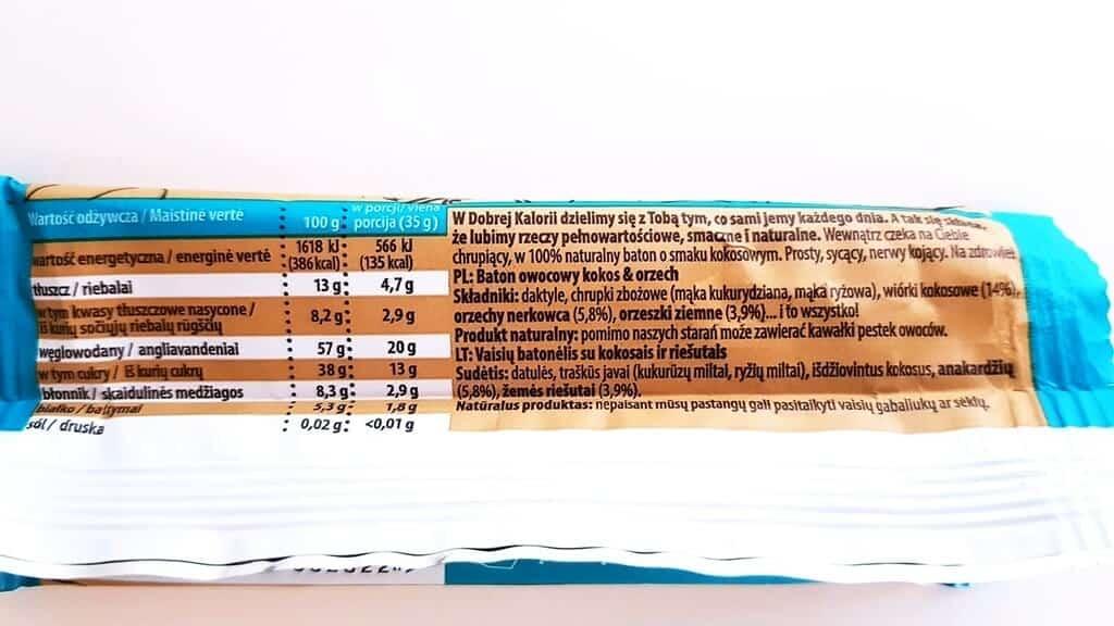 Baton Dobra Kaloria (kokos i orzech) - skład i tabela wartości odżywczych