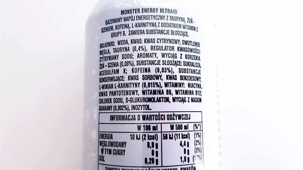 Monster Energy Ultra biały (bez kalorii) - skład i tabela wartości odżywczych