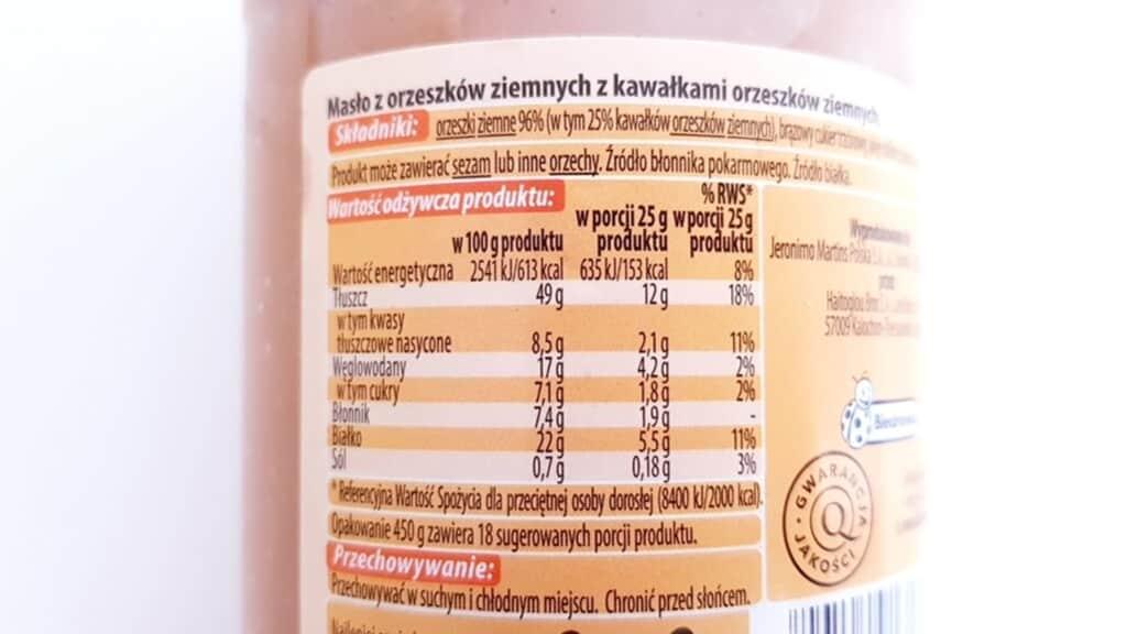 Masło orzechowe Vitanella (z kawałkami orzeszków) - skład i tabela wartości odżywczych