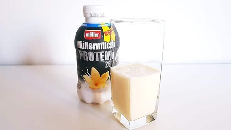 Napój Müllermilch Protein (waniliowy) - wygląd napoju