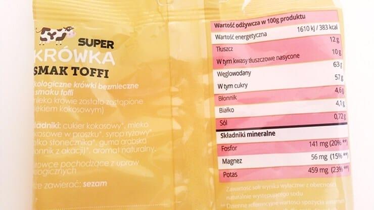 Cukierki Super Krówka (toffi) - skład i tabela wartości odżywczych