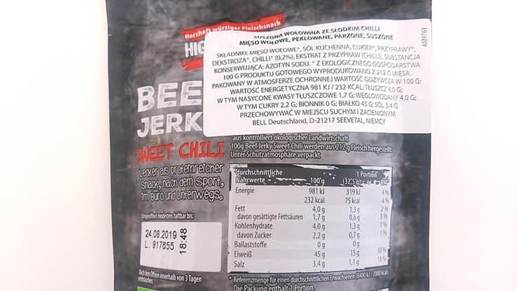 Suszona wołowina Beef Jerky BIO (sweet chili) - skład i tabela wartości odżywczych