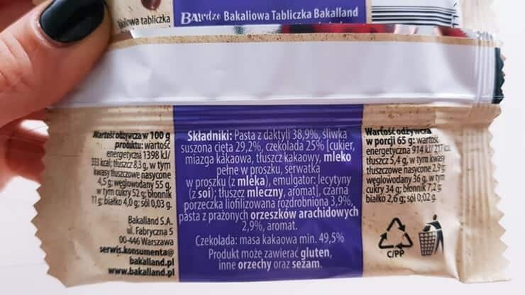 Bakaliowa Tabliczka, Bakalland (śliwka & czarna porzeczka) - skład i tabela wartości odżywczych