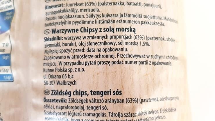 Chipsy warzywne ENJOY (z solą morską) - skład