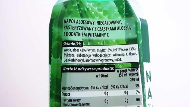 Napój aloesowy Vitanella (z cząstkami aloesu) - skład i tabela wartości odżywczych