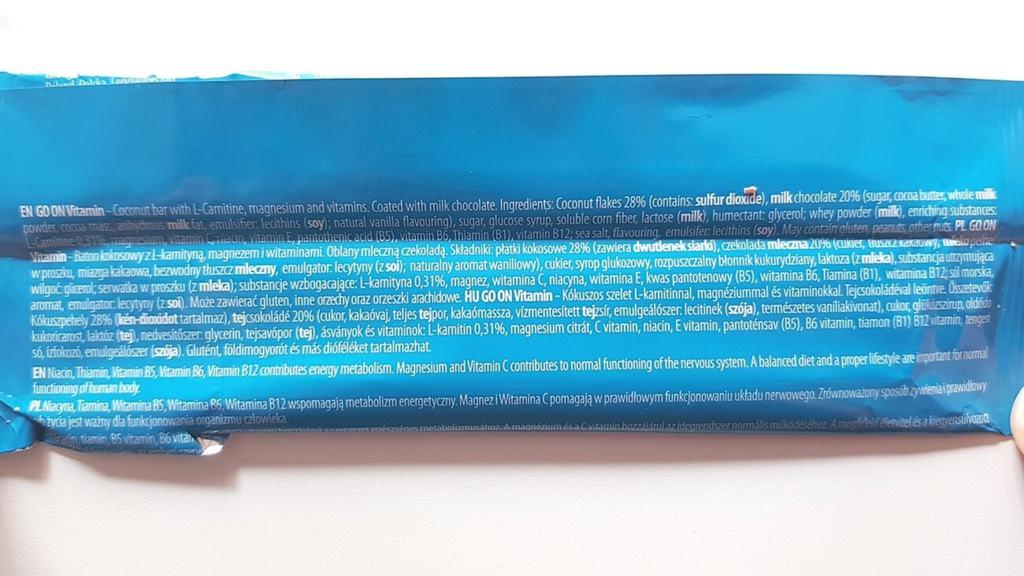 Baton Go On VITAMIN (kokosowy) - skład i tabela wartości odżywczych