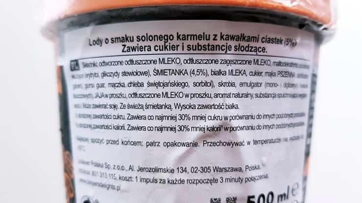 Lody BREYERS Delights słony karmel - skład