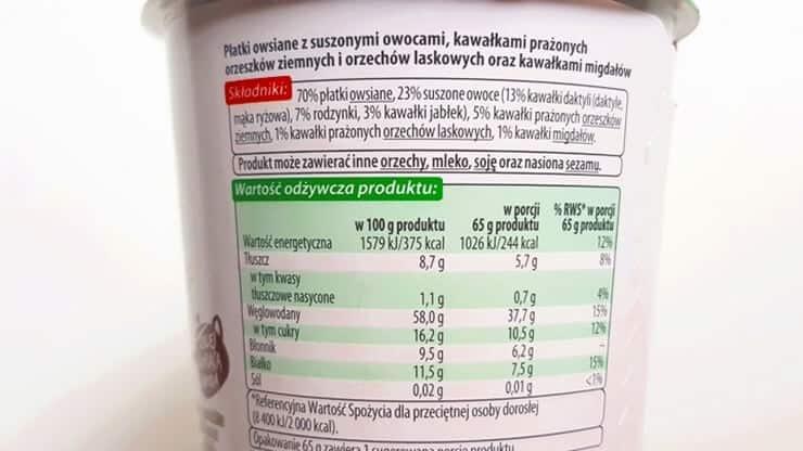 Owsianka z ranka Vitanella z suszonymi owocami - skład i tabela wartości odżywczych