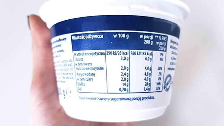 Serek Wiejski wysokobiałkowy, Piątnica - tabela wartości odżywczych