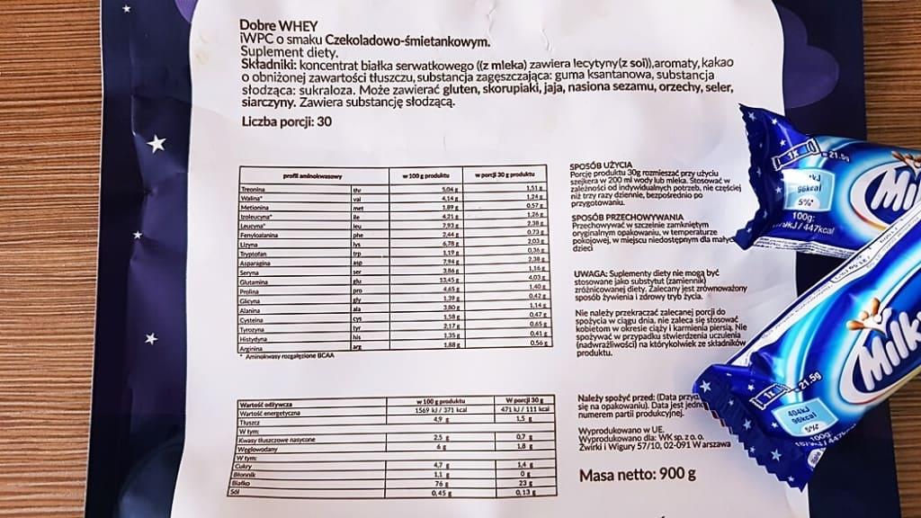 Białko Dobre Whey WK (smak Milki Whey) - skład i tabela wartości odżywczych