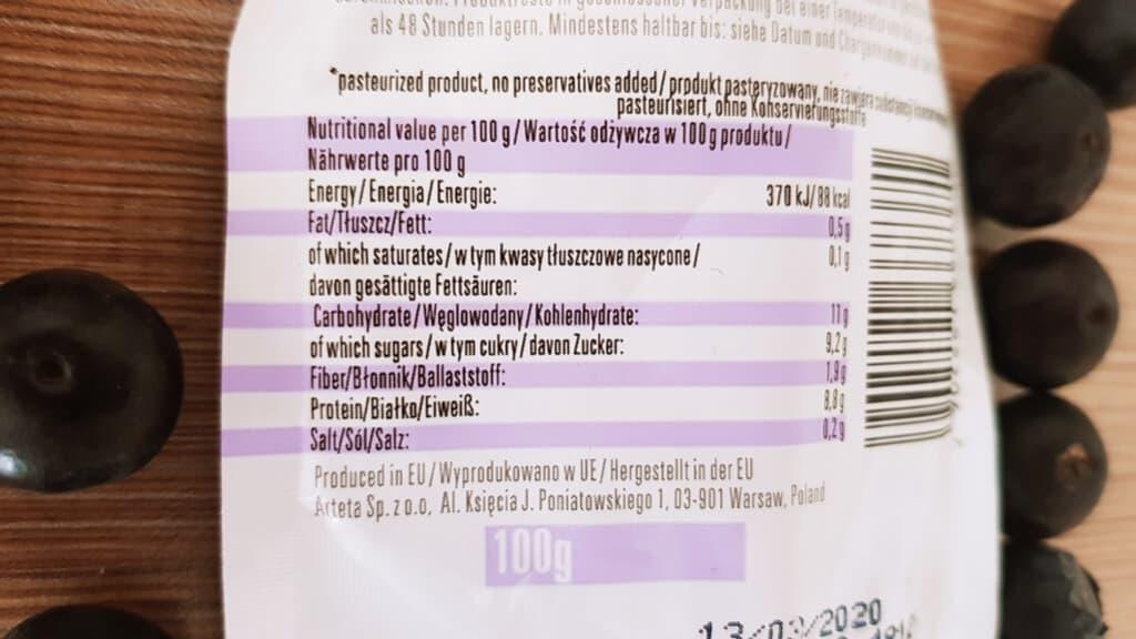 Day Up Protein Boost blueberry - tabela wartości odżywczych