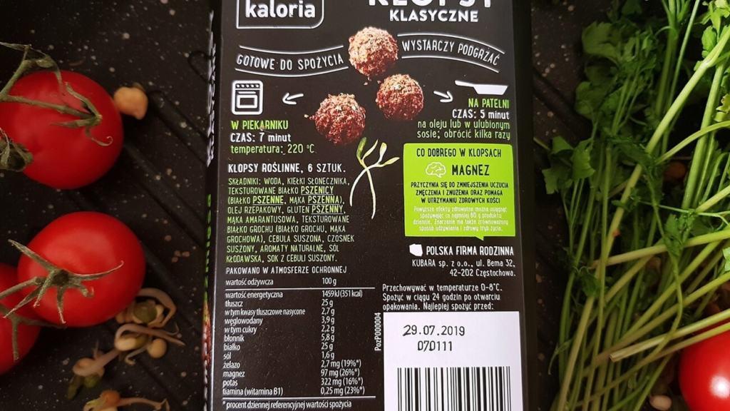 Roślinne klopsy klasyczne Dobra Kaloria - skład i tabela wartości odżywczych