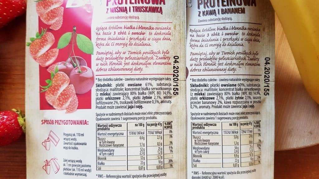 Owsianka Proteinowa, BA! Bakalland (kawa&banan + wiśnia&truskawka) - składy produktów