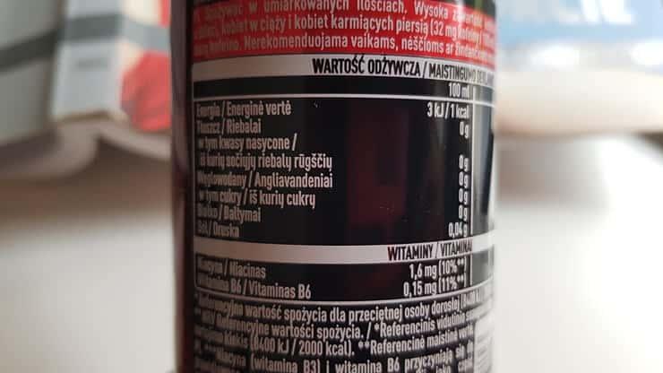 Coca Cola Energy Zero (bez cukru) - skład i tabela wartości odżywczych