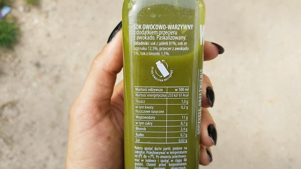 Sok Wycisk (zielony) z Żabki - skład i tabela wartości odżywczych