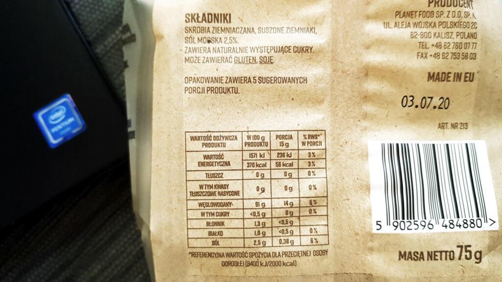 Fit Ziemniaczki Sunny Family (sól morska) - skład i tabela wartości odżywczych