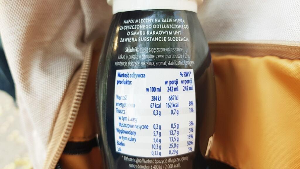 Napój proteinowy Mleczna Dolina (czekoladowy) - skład i tabela wartości odżywczych