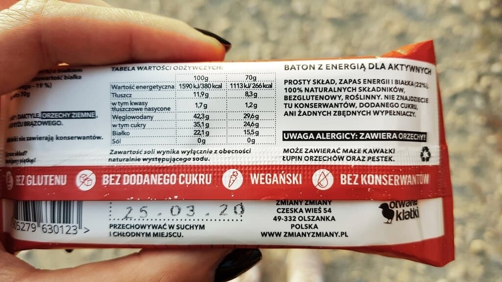 Baton SZTANGA (proteinowy) - skład i tabela wartości odżywczych