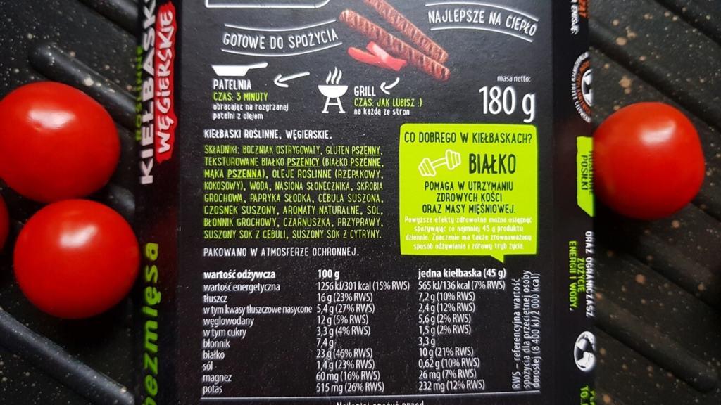 Roślinne kiełbaski węgierskie, Dobra Kaloria - skład i tabela wartości odżywczych