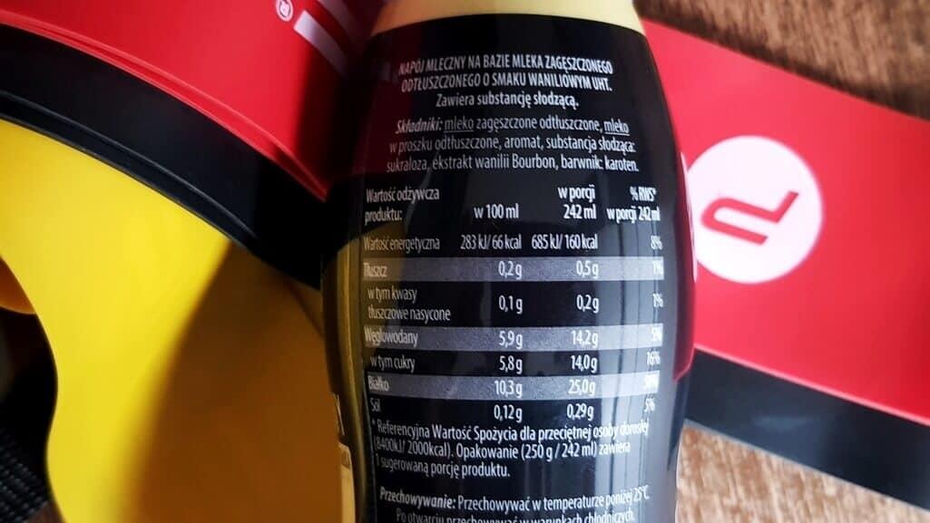 Napój mleczny PROTEIN, Vitanella PRO (waniliowy) - skład i tabela wartości odżywczych