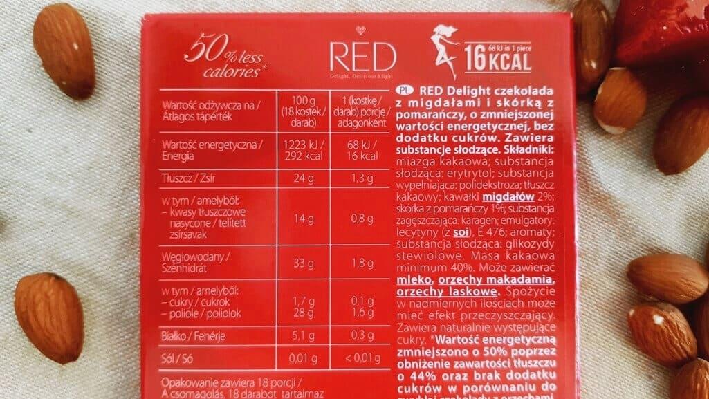 Ciemna czekolada RED Delight (pomarańcza i migdał) - skład i tabela wartości odżywczych