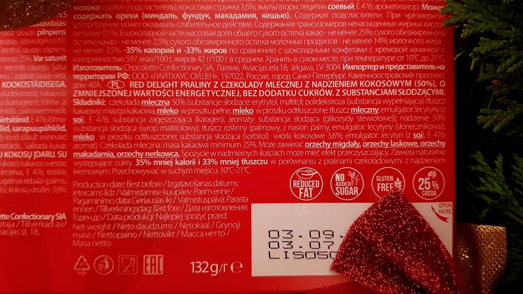 Praliny RED Delight (z nadzieniem kokosowym) - skład