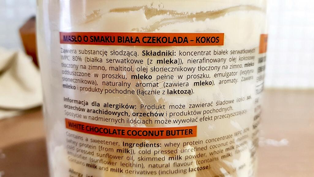 Masło biała czekolada & kokos, KFD - skład produktu