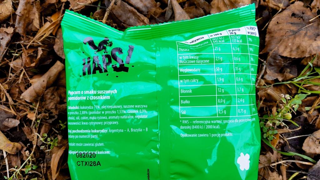Popcorn Haps! (suszone pomidory - czosnek) - skład i tabela wartości odżywczych