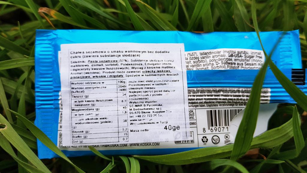 Chałwa KOSKA (waniliowa bez cukru) - skład i tabela wartości odżywczych
