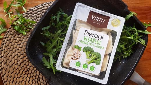 Pierogi wegańskie Virtu (z brokułami, tofu i szpinakiem) z Lidla