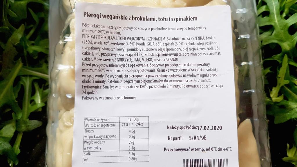 Pierogi wegańskie Virtu (z brokułami, tofu i szpinakiem) - skład i tabela wartości odżywczych