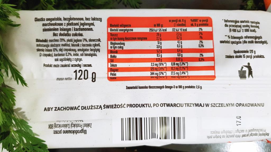 Ciasteczka marchewkowe Frank&Oli - skład i tabela wartości odżywczych