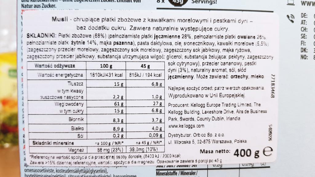 Kellogg's Musli bez cukru (morela i pestki dyni) - skład i tabela wartości odżywczych