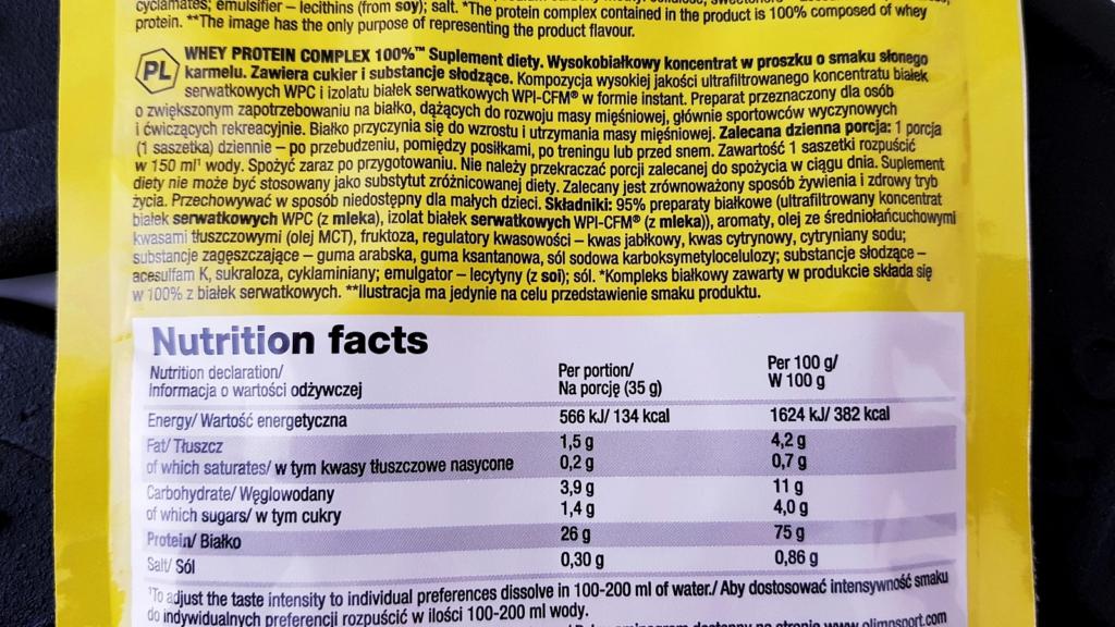 Olimp białko słony karmel - skład i tabela wartości odżywczych