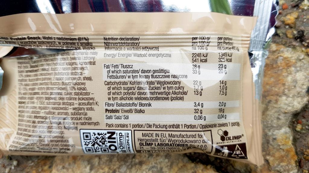 OLIMP Protein Snack (hazelnut cream) - tabela wartości odżywczych