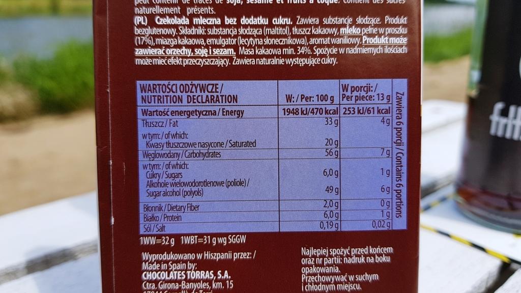 Czekolada Torras mleczna (bez cukru) - skład i tabela wartości odżywczych