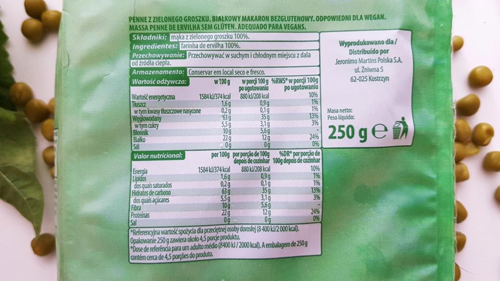 Makaron z zielonego groszku (białkowy), Go Vege - skład i tabela wartości odżywczych
