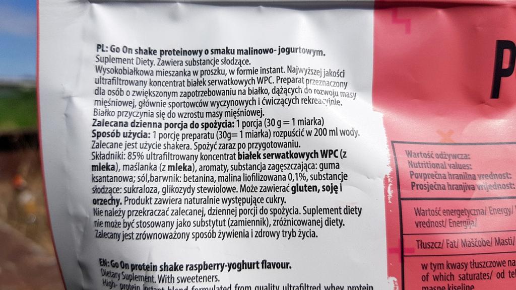 Go On Protein Shake (malinowo-jogurtowy) - skład
