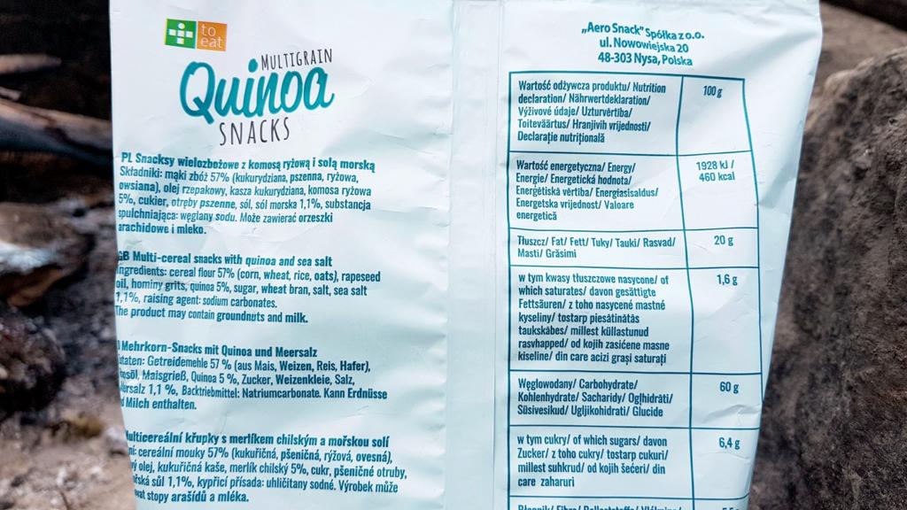 Quinoa Snacks, To Eat (sól morska) - skład i tabela wartości odżywczych