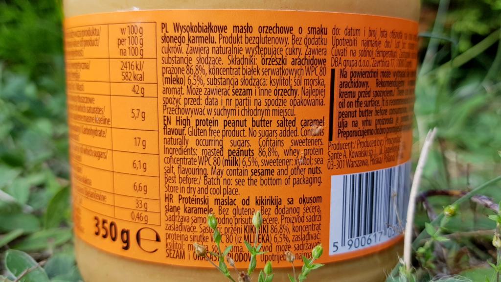 Masło orzechowe Go On PROTEIN (słony karmel) - skład
