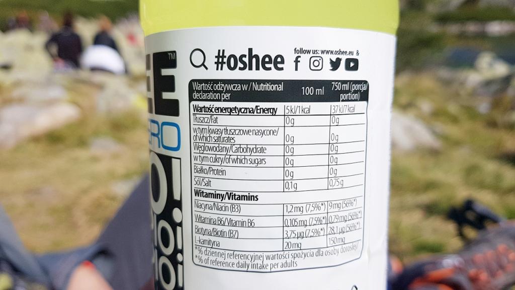 Oshee ZERO Lemon - tabela wartości odżywczych