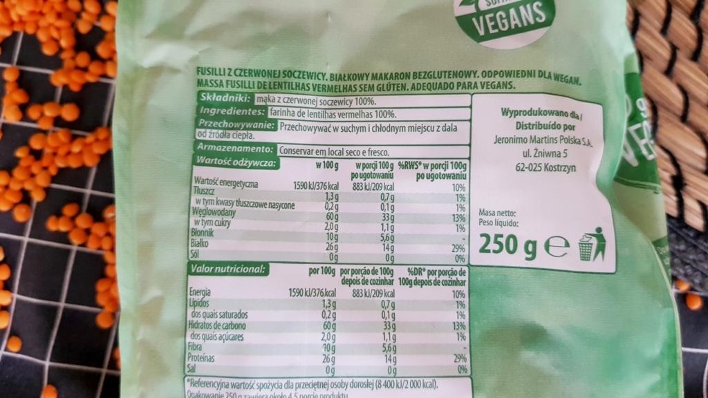 Makaron z czerwonej soczewicy (białkowy), Go Vege - skład i tabela wartości odżywczych