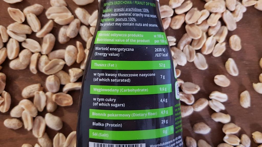 Pasta Orzechowa DIP Planta - skład i tabela wartości odżywczych