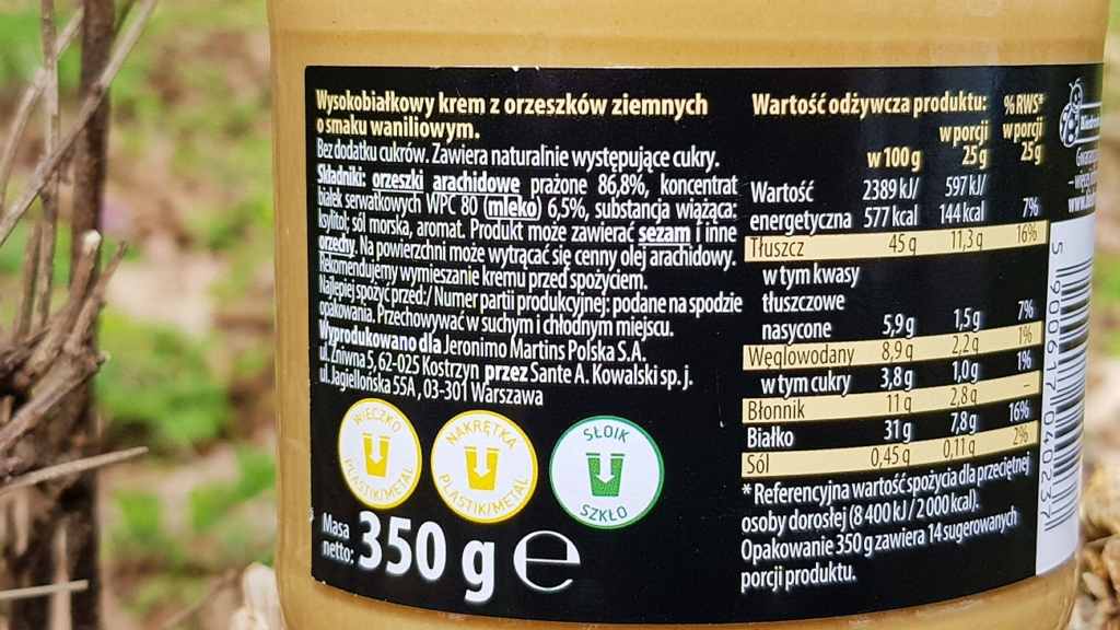 Krem orzechowy PROTEIN Vitanella (wanilia) - skład i tabela wartości odżywczych